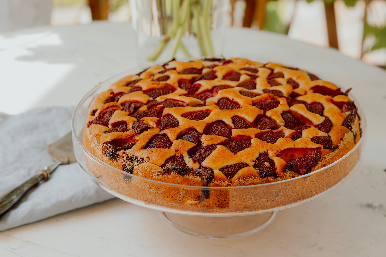 ciasto ucierane z truskawkami